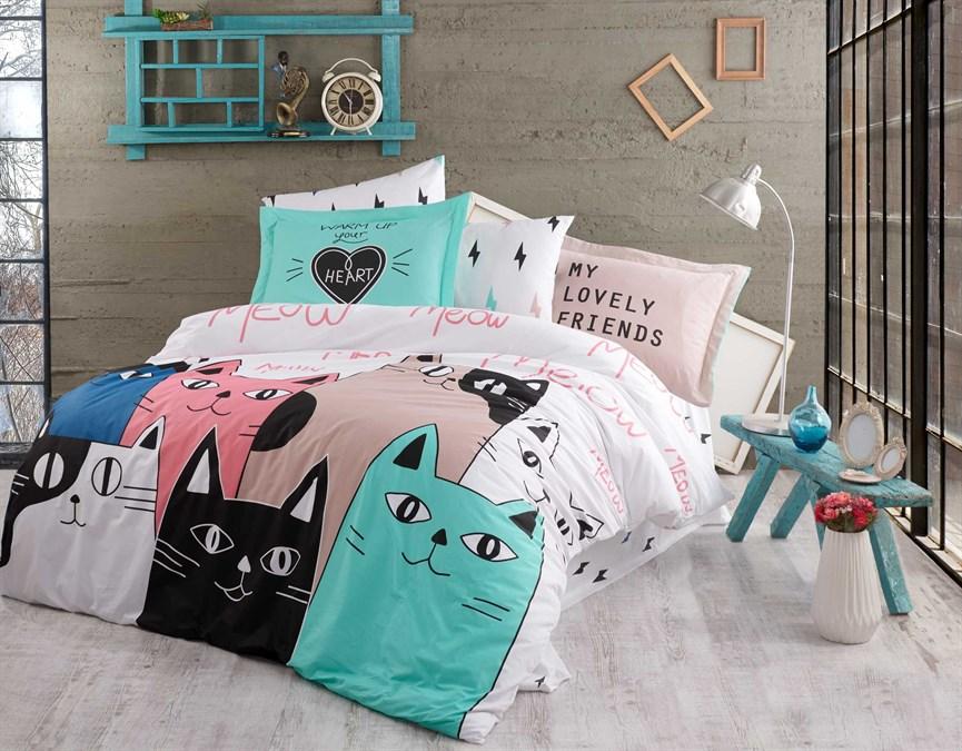 КПБ Hobby Poplin Love Cats рожевий 200*220/2*50*70 - фото 21695
