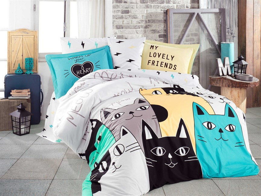Hobby Poplin Love Cats жовтий 200*220/2*50*70 - фото 21713