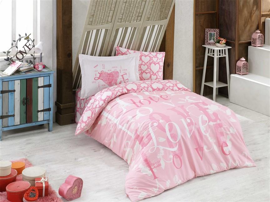 Hobby Poplin Love рожевий 160*220/1*50*70 - фото 21862