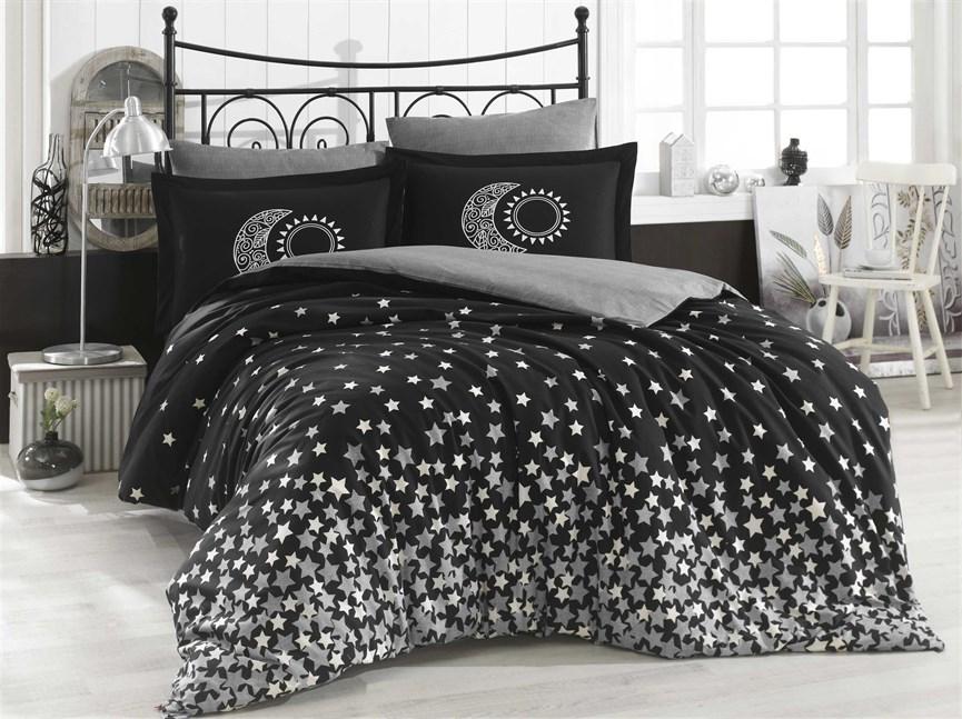 Hobby Poplin Stars сірий 160*220/1*50*70 - фото 21886