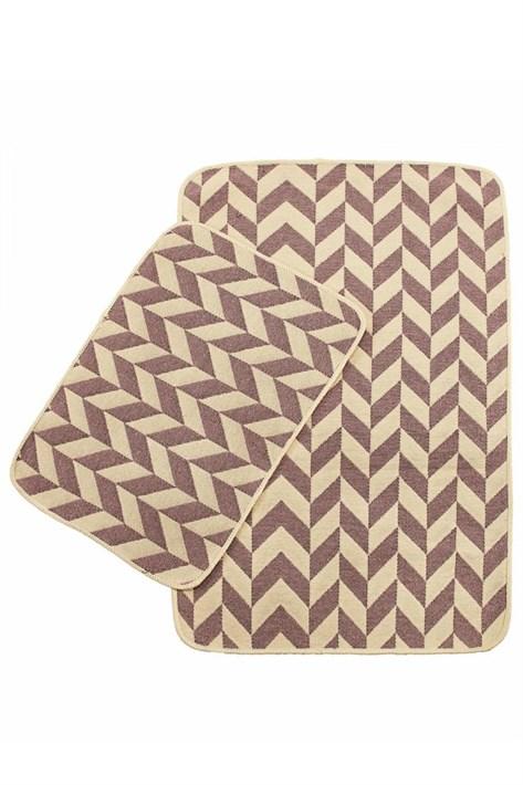 Набір килимків SOLO 40*60+60*90 KREM PEMBE ZIGZAG - фото 23057