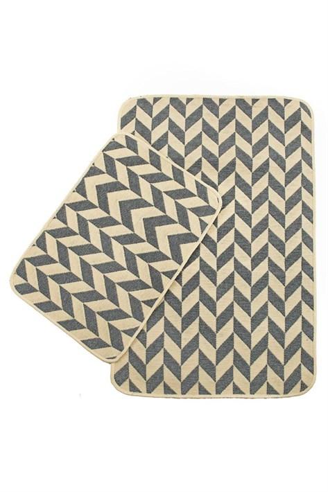 Набір килимків SOLO 40*60+60*90 KREM GRI ZIGZAG - фото 23064