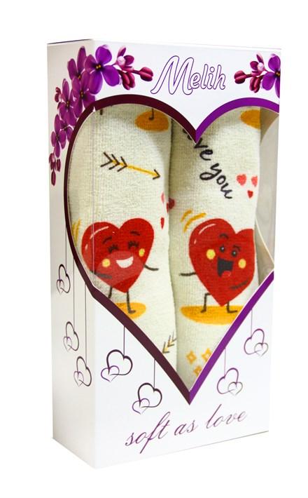"""Подарунковий набір рушн.махр.""""LOVE"""" червоний  40*60 2шт. в коробці - фото 24119"""