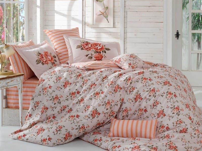 КПБ Hobby Poplin Flora персиковий 200*220/2*50*70 + подарунок 2*70*70 - фото 6083