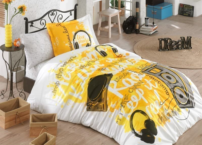 КПБ Hobby Poplin Love Music жовтий 160*220/1*50*70 - фото 6104