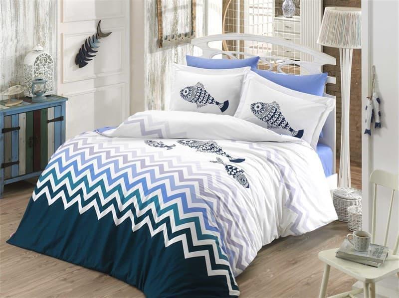 КПБ Hobby Poplin Ocean синій/блакитний 200*220/2*50*70 - фото 6143