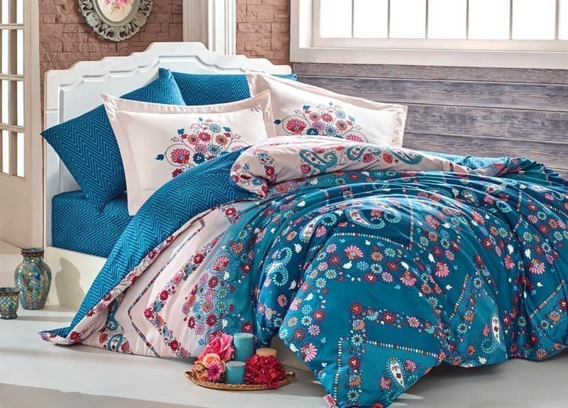 КПБ Hobby Exclusive Sateen Sancha синій 200*220/4*50*70 - фото 6372