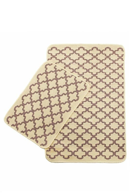 Набір килимків SOLO 40*60+60*90 KREM PEMBE GEOMETRI - фото 6691