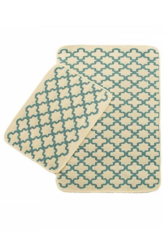 Набір килимків SOLO 40*60+60*90 KREM MAVI GEOMETRI - фото 6692