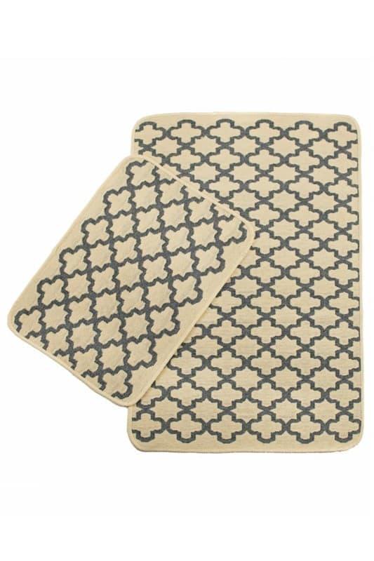 Набір килимків SOLO 40*60+60*90 KREM GRI GEOMETRI - фото 6912