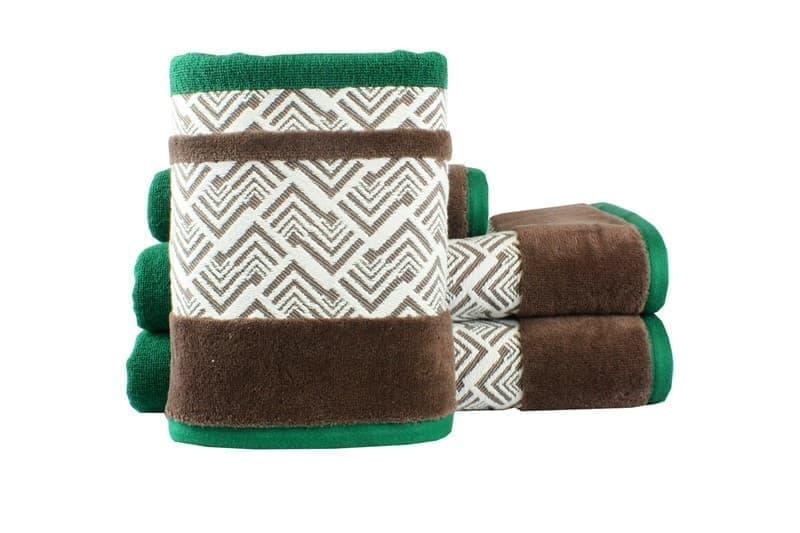 Рушник NAZENDE 70*140 зелений/коричневий 560г/м2 - фото 8458
