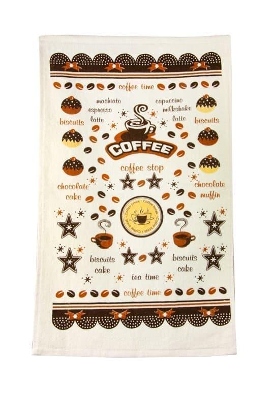 Рушник махровий Кофе тайм 30*50 коричневий 350г/м2 - фото 9289