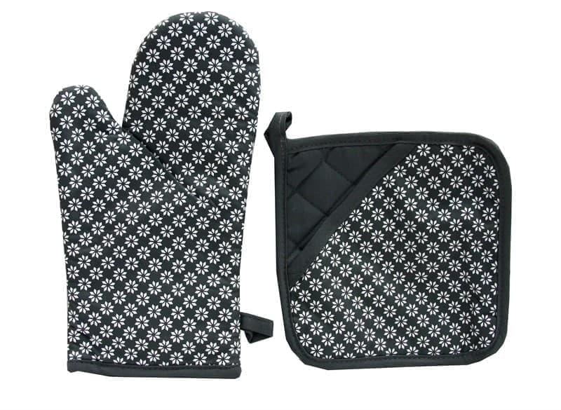 Набір д/кухні CHEF LUX прихватка + рукавиця силікон/бавовна  SIYAH CICEKLI - фото 9341