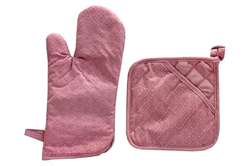 Набір д/кухні CHEF LUX прихватка + рукавиця силікон/бавовна PEMBE DESENLI - фото 9352
