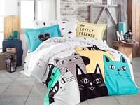Hobby Poplin Love Cats жовтий 160*220/1*50*70