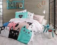 Hobby Poplin Love Cats рожевий 160*220/1*50*70