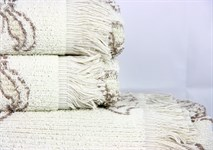 Рушник махровий Maisonette Lora 70*140 бежевий 450 г/м2 - фото 23301