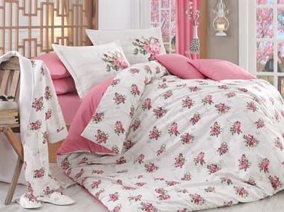 КПБ HOBBY Poplin Paris Spring рожевий  200*220/2*50*70 + подарунок 2*70*70