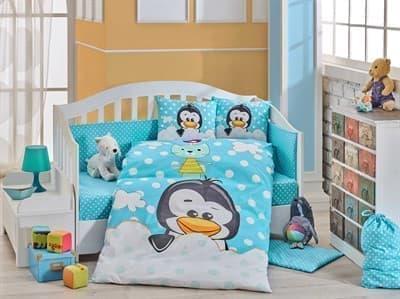КПБ HOBBY дит. Penguin блакитний 100*150/2*35*45