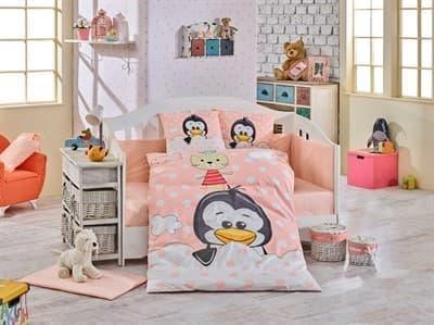 КПБ HOBBY дит. Penguin персиковий 100*150/2*35*45