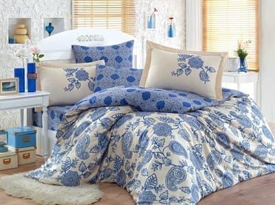 КПБ Hobby Exclusive Sateen Antonia синій 200*220/4*50*70 - фото 6323
