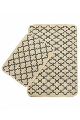 Набір килимків SOLO 40*60+60*90 KREM GRI GEOMETRI
