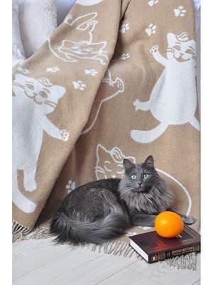 "Плед Vladi жаккард ""Cats"" 140*200 бежевий (нов) - фото 7244"