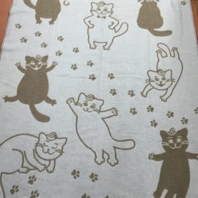 "Плед Vladi жаккард ""Cats"" 140*200 бежевий (нов) - фото 7247"