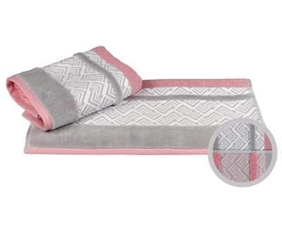 Рушник NAZENDE 70*140 рожевий/сірий 560г/м2 - фото 8447
