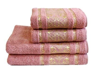 Рушник махровий Imperial 70*140 сіро-рожевий 480г/м2