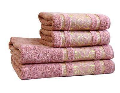 Рушник махровий Imperial 70*140 сіро-рожевий 480г/м2 - фото 9009