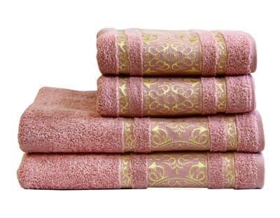 Рушник махровий Imperial 70*140 сіро-рожевий 480г/м2 - фото 9010
