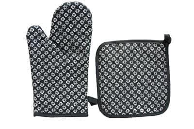Набір д/кухні CHEF LUX прихватка + рукавиця силікон/бавовна  SIYAH CICEKLI - фото 9340