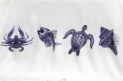 Рушник Bamboo Peshtemal 90*180см Sea Creatures - фото 9640