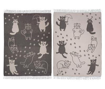 "Плед Vladi жаккард ""Cats"" 140*200 сірий (нов) - фото 9654"