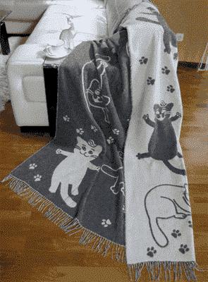 "Плед Vladi жаккард ""Cats"" 140*200 сірий (нов) - фото 9660"