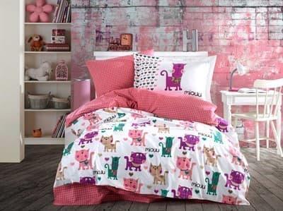 КПБ Hobby Poplin Miouu рожевий 160*220/1*50*70